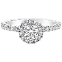 Roman Malakov GIA Certified 0.43 Carat Round Diamond Halo Engagement Ring