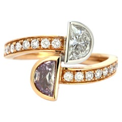 GIA Certified Pink and White Diamond Ring