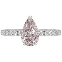GIA Certified 0.47 Carat Pear Shape Pink Diamond Ring