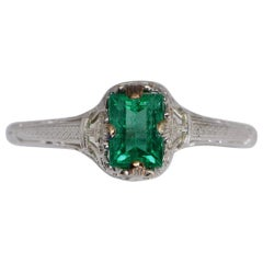 GIA Certified 0.50 Carat Columbian Emerald Art Deco Ring