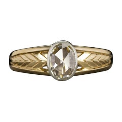 GIA Certified 0.50 Ct Oval Rose Cut Diamond Ring Bezel Engagement Chevron Gold