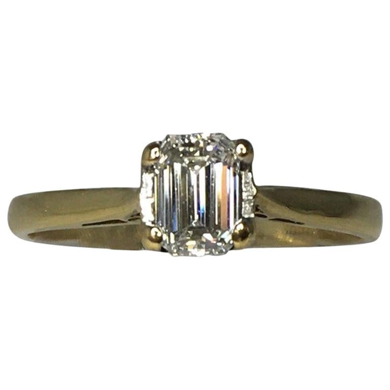 GIA Certified 0.51 Carat Emerald Cut White Diamond 18k Gold Solitaire Ring F SI2