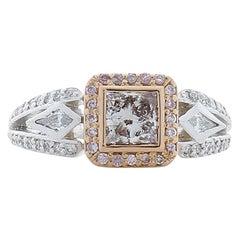 GIA Certified 0.51 Carat Fancy Light Brown-Pink Diamond Platinum Cocktail Ring