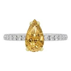 GIA Certified 0.52 Carat Pear Shape Orange Diamond Ring