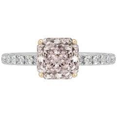 GIA Certified 0.56 Carat Radiant Cut Pink Diamond Ring