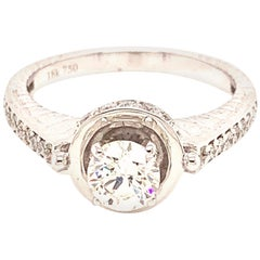 GIA Certified 0.56 Carat Round Brilliant Cut White Diamond Engagement Gold Ring