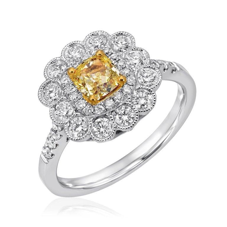 Cushion Cut Yellow Diamond Ring GIA Certified 0.58 Carats For Sale