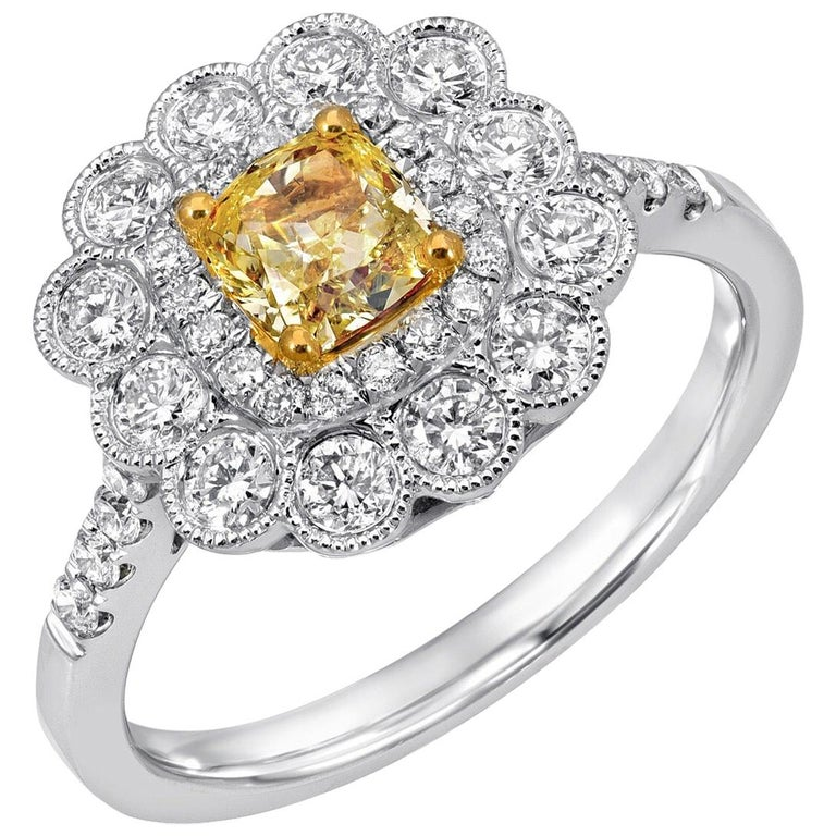Yellow Diamond Ring GIA Certified 0.58 Carats For Sale