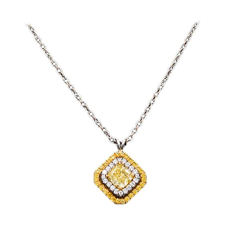 GIA Certified 0.62 Carat Fancy Intense Yellow Diamond Necklace