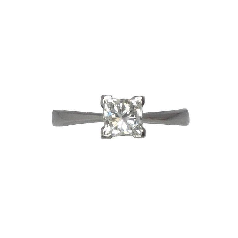 GIA Certified 0.63 Carat Square Princess Diamond Solitaire Platinum Ring F VVS2