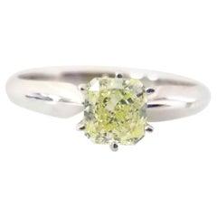 GIA Certified 0.64 Carat Fancy Yellow Radiant Diamond Ring 14 Karat Gold