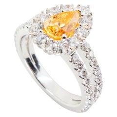 GIA Certified 0.66 Fancy Intense Yellowish Orange Pear Diamond Cocktail Ring