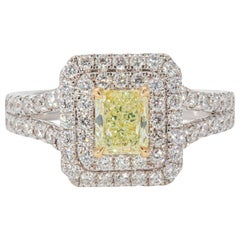 GIA Certified 0.67 Carat Fancy Light Yellow-Green Cocktail Ring