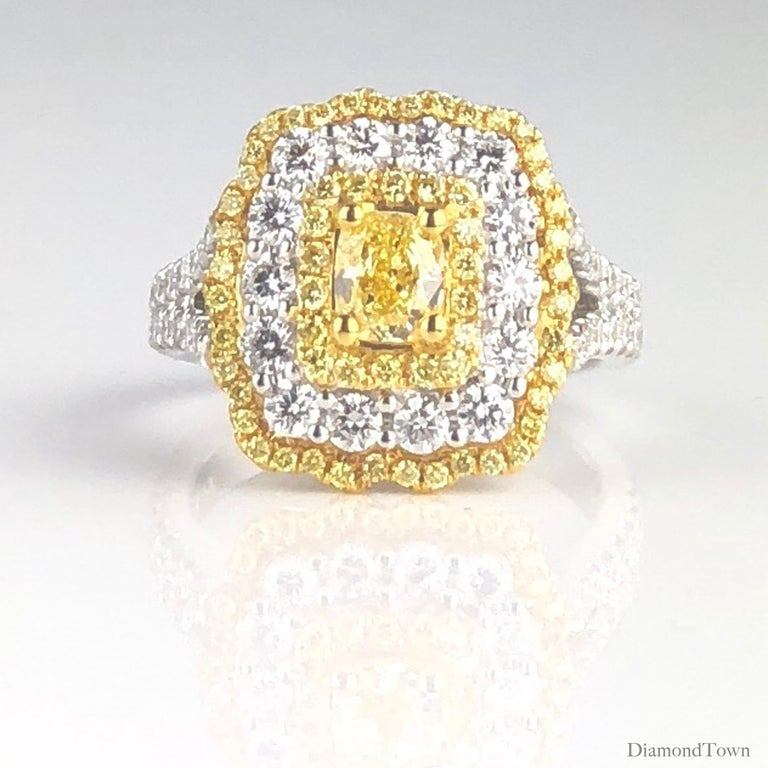 Contemporary GIA Certified 0.68 Carat Natural Fancy Yellow Diamond Ring in 18 Karat Gold For Sale