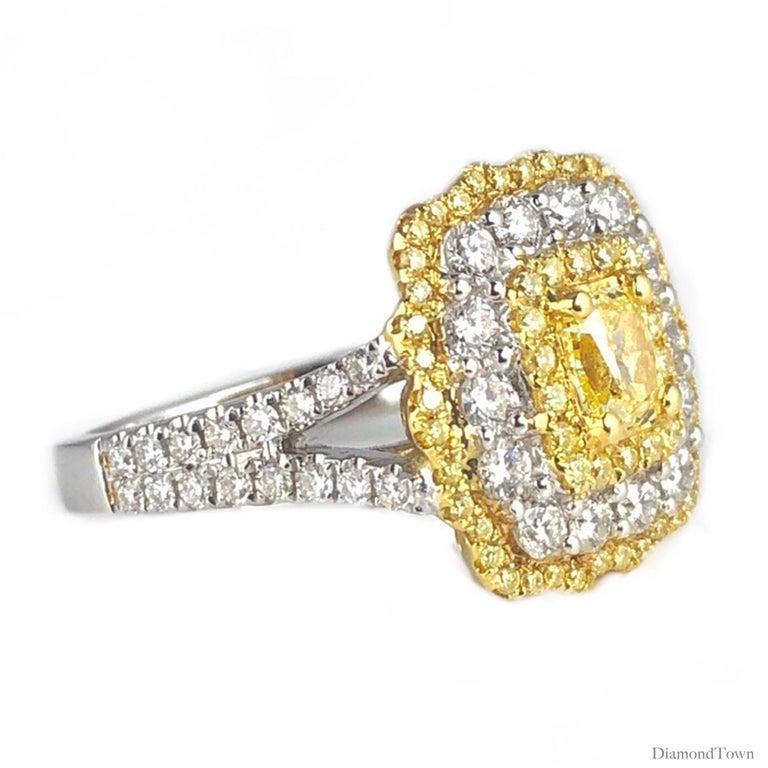 Cushion Cut GIA Certified 0.68 Carat Natural Fancy Yellow Diamond Ring in 18 Karat Gold For Sale