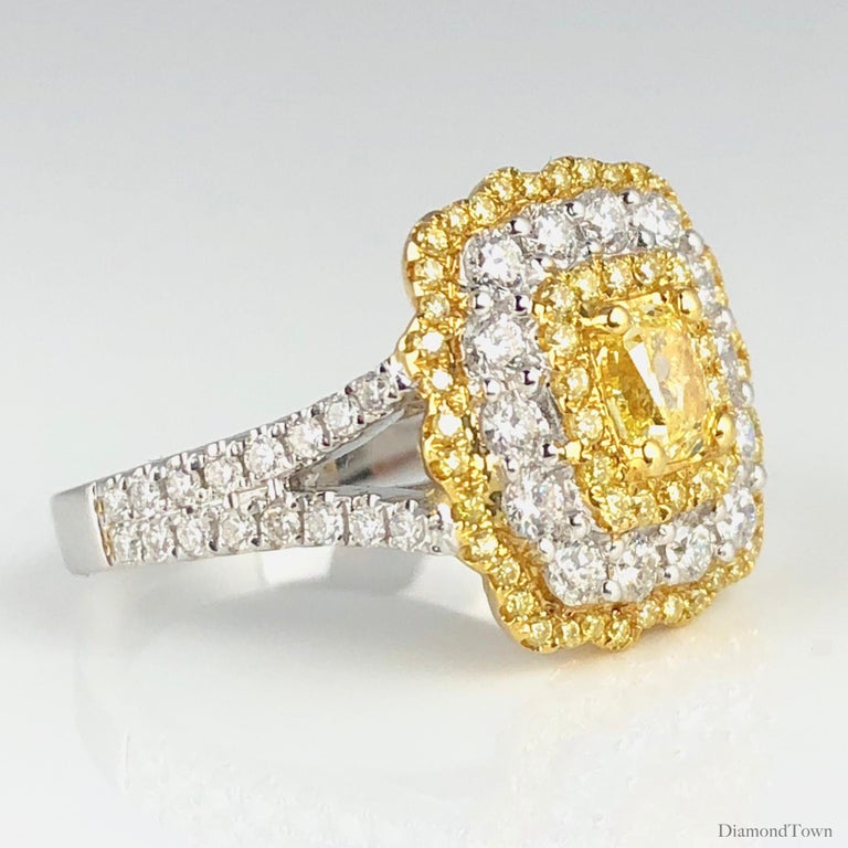 GIA Certified 0.68 Carat Natural Fancy Yellow Diamond Ring in 18 Karat Gold In New Condition For Sale In New York, NY