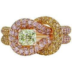 GIA Certified 0.70 Carat Intense Green Diamond Intertwined Knot Fashion Ring