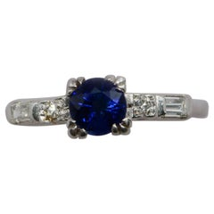 GIA Certified 0.70 Carat Madagascar Sapphire and Diamond Platinum Ring