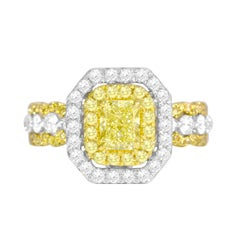 DiamondTown GIA Certified 0.70 Carat Natural Fancy Yellow Diamond Halo Ring