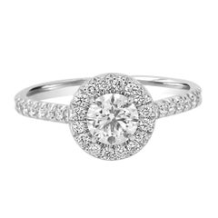 GIA Certified 0.70 Carat Round White Diamond Halo Gold Engagement Ring