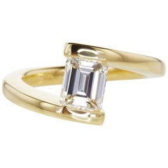 GIA Certified 0.71 Carat Bypass Emerald Cut Diamond Solitaire Ring in 14K Gold