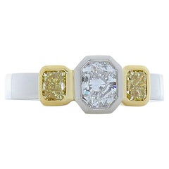 GIA Certified 0.71 Carat Radiant Cut Diamond And Fancy Yellow Diam Cocktail Ring