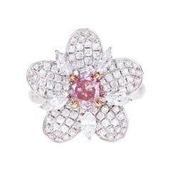 GIA Certified 0.72 Carat Fancy Purple Pink Diamond Cocktail Ring