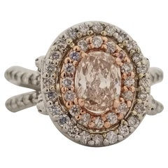 GIA Certified 0.72 Carat Natural Fancy Brown Cushion Shape Diamond Ring 14K