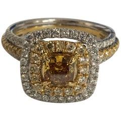 GIA Certified 0.72 Carat Orange Diamond Double Halo Ring