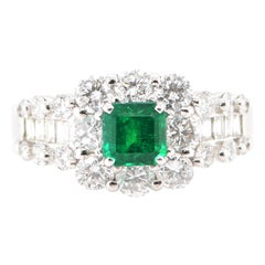 GIA Certified 0.73 Carat Colombian Emerald and Diamond Ring Set in Platinum