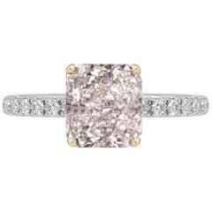 GIA Certified 0.75 Carat Radiant Cut Pink Diamond Ring