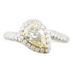 GIA Certified 0.76 Carat Fancy green, Yellow Pear Shape Ring in 18K White Gold