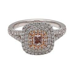 GIA Certified 0.76 Carat TW Pinkish Brown Cushion Cut Diamond Center Halo Ring