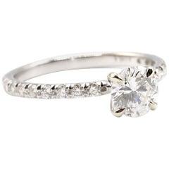 GIA Certified 0.77 Carat Round F SI2 14 Karat Gold Pave Diamond Engagement Ring
