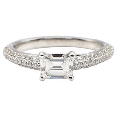 GIA Certified 0.78 Carat E SI1 Emerald Cut Diamond Engagement Ring
