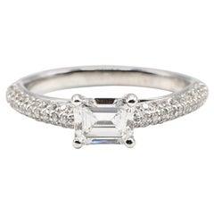 GIA Certified 0.78 Carat E SI1 Emerald Cut Diamond Engagement Ring
