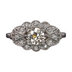 GIA Certified 0.80 Carat Old Cut Diamond Ring