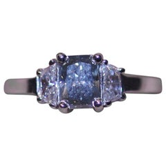 GIA Certified 0.81 Carat Fancy Blue Gary Diamond Ring