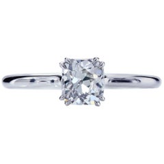 GIA Certified 0.83 I/VS1 True Antique Cushion Diamond Platinum Engagement Ring