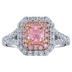 GIA Certified 0.84 Carat Radiant Fancy Intense Pink Diamond Ring