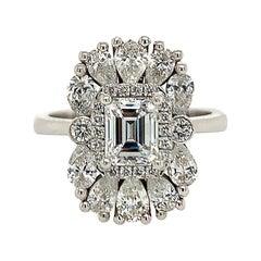 GIA Certified 0.85 Carat Emerald Cut Diamond Engagement Ring