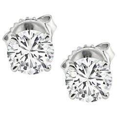 GIA Certified 0.88 Carat and 0.87 Carat Diamond Stud Earrings