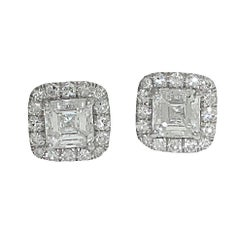 GIA Certified 0.90 Carat and 0.90 Carat Square Emerald Cut Diamond Earrings,