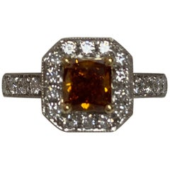 GIA Certified 0.90 Carat Fancy Color Diamond Ring