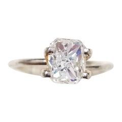 GIA Certified 0.90 Carat Natural Radiant Diamond Ring 14 Karat Gold