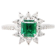 GIA Certified 0.91 Carat No Oil Colombian Emerald & Diamond Ring Set in Platinum