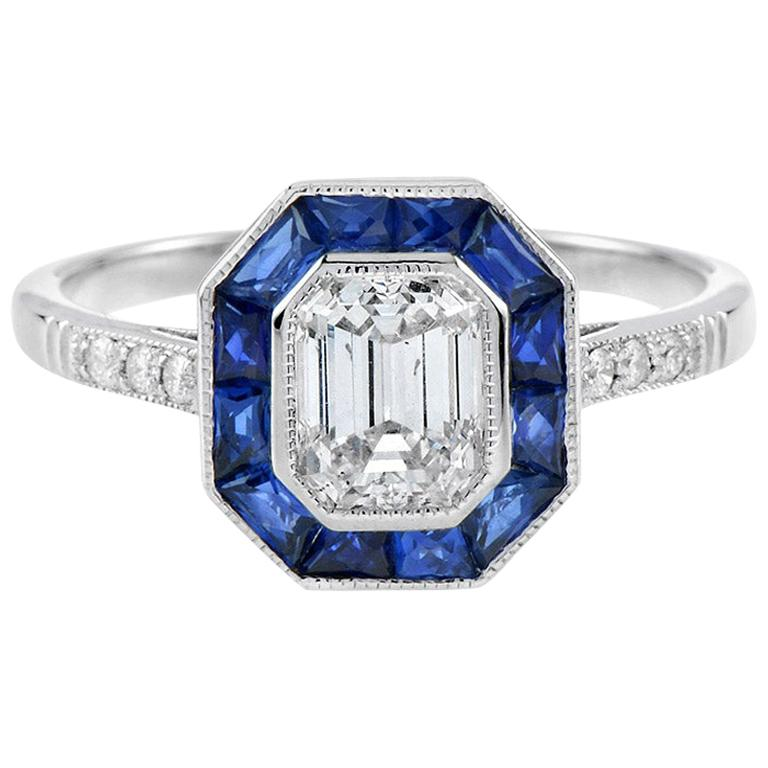 One Art Deco Style GIA Certified 0.92 Carat Diamond with Calibre Sapphire Ring