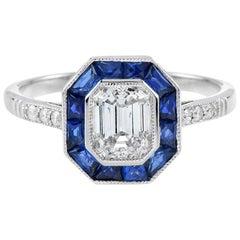 GIA Certified 0.92 Carat D Color Diamond Blue Sapphire Engagement Ring