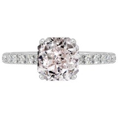 GIA Certified 0.93 Carat Radiant Cut Pink Diamond Ring