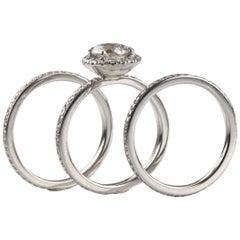 GIA Certified 0.94 Carat Round Diamond 18 Karat White Gold Three-Ring Set